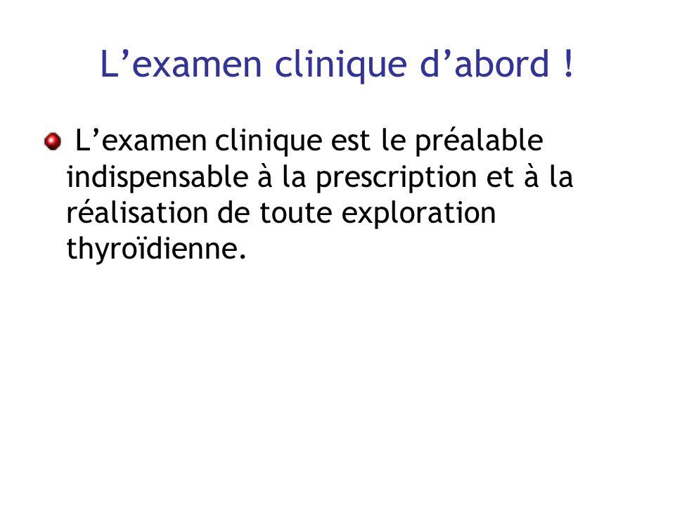 Lexamen clinique dabord ! Lexamen clinique est le préalable indispensable à la prescription et à la réalisation de toute exploration thyroïdienne.