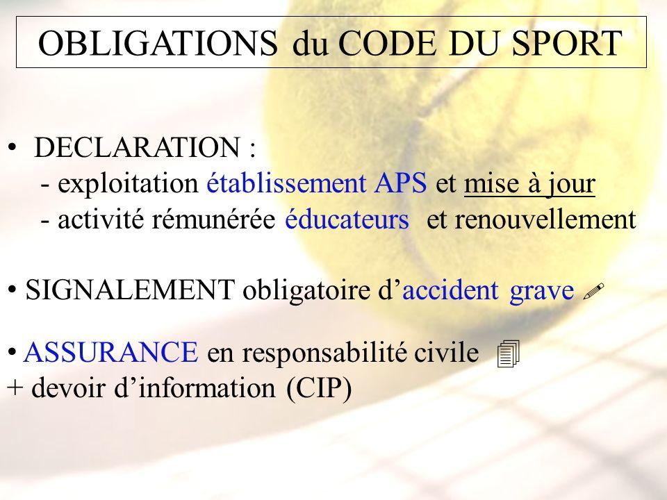 OBLIGATIONS du CODE DU SPORT DECLARATION : - exploitation établissement APS et mise à jour - activité rémunérée éducateurs et renouvellement SIGNALEME