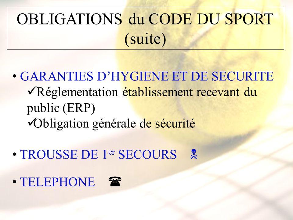 OBLIGATIONS du CODE DU SPORT (suite) GARANTIES DHYGIENE ET DE SECURITE Réglementation établissement recevant du public (ERP) Obligation générale de sécurité TROUSSE DE 1 er SECOURS TELEPHONE