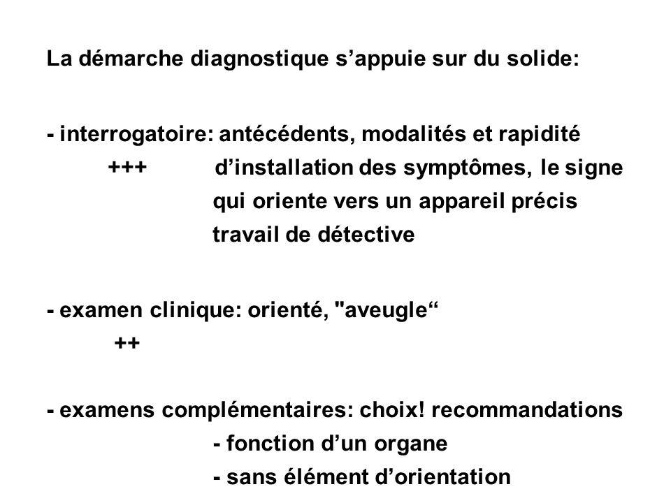 La démarche diagnostique sappuie sur du solide: - interrogatoire: antécédents, modalités et rapidité +++ dinstallation des symptômes, le signe qui ori
