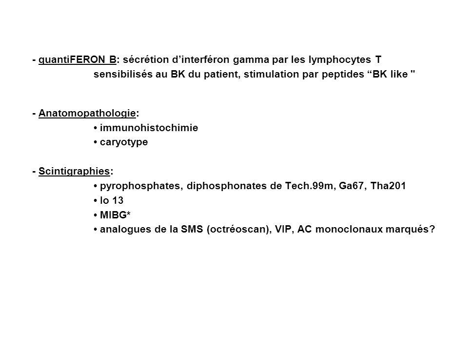 - quantiFERON B: sécrétion dinterféron gamma par les lymphocytes T sensibilisés au BK du patient, stimulation par peptides BK like - Anatomopathologie: immunohistochimie caryotype - Scintigraphies: pyrophosphates, diphosphonates de Tech.99m, Ga67, Tha201 Io 13 MIBG* analogues de la SMS (octréoscan), VIP, AC monoclonaux marqués
