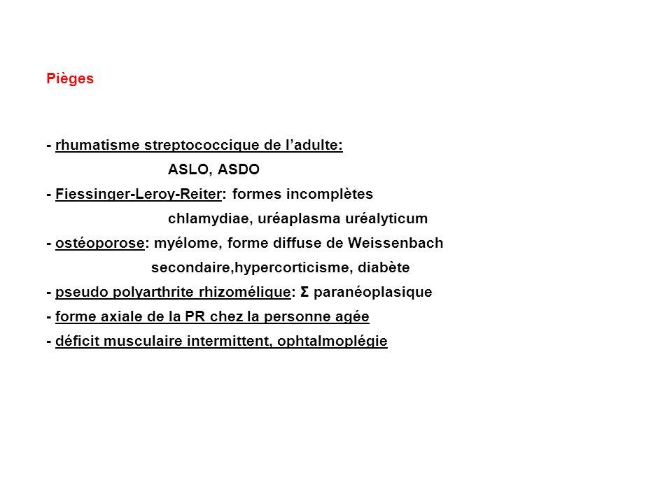Pièges - rhumatisme streptococcique de ladulte: ASLO, ASDO - Fiessinger-Leroy-Reiter: formes incomplètes chlamydiae, uréaplasma uréalyticum - ostéopor