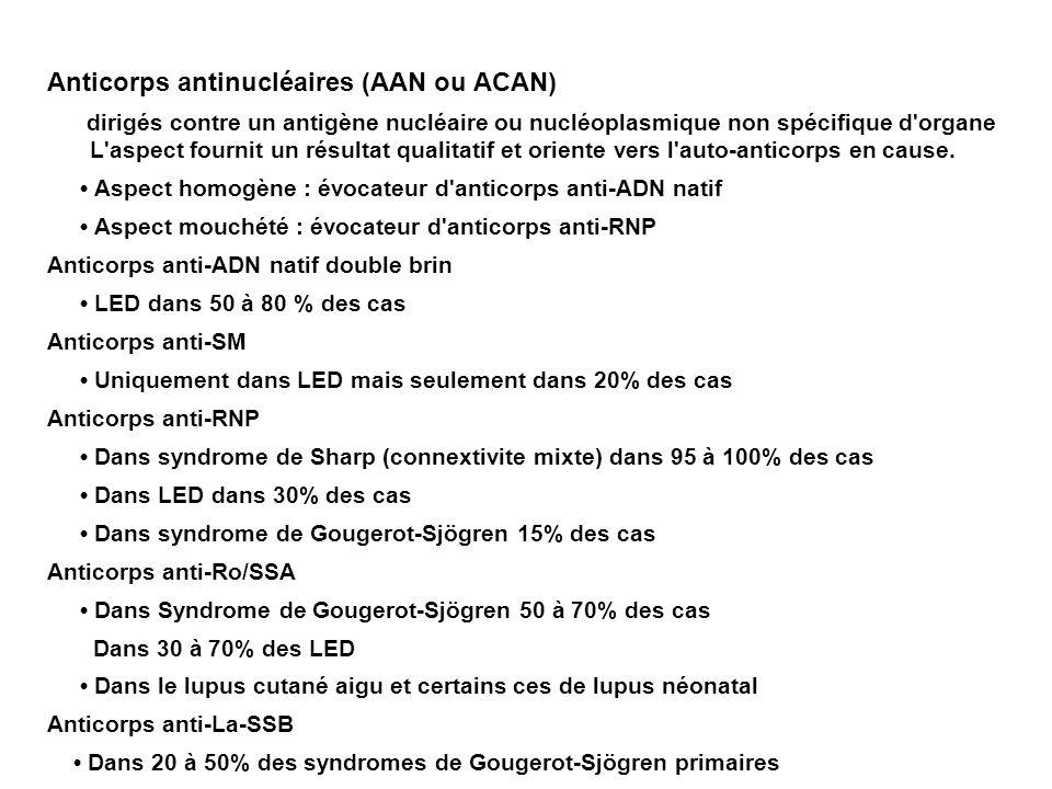 Anticorps antinucléaires (AAN ou ACAN) dirigés contre un antigène nucléaire ou nucléoplasmique non spécifique d organe L aspect fournit un résultat qualitatif et oriente vers l auto-anticorps en cause.
