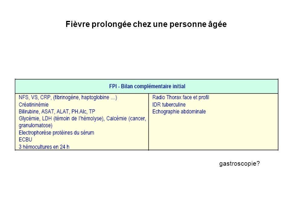 Fièvre prolongée chez une personne âgée Vinceneux EPU 95 Montmorency gastroscopie?