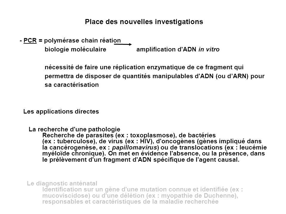 Place des nouvelles investigations - PCR = polymérase chain réation biologie moléculaire amplification d'ADN in vitro nécessité de faire une réplicati