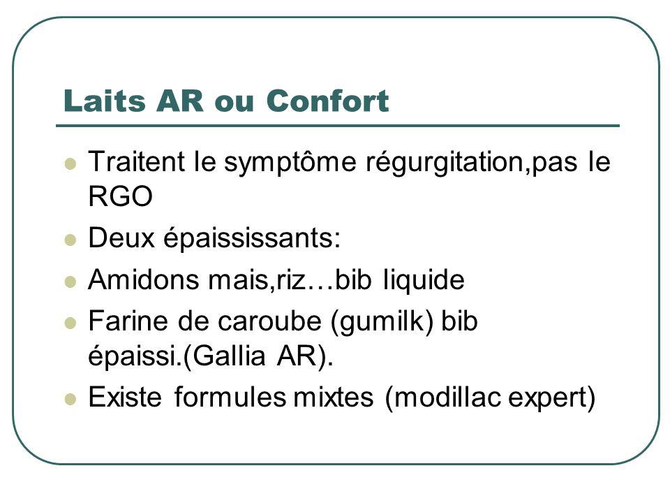 Laits AR ou Confort Traitent le symptôme régurgitation,pas le RGO Deux épaississants: Amidons mais,riz…bib liquide Farine de caroube (gumilk) bib épai