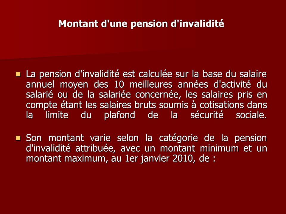 Montant d'une pension d'invalidité La pension d'invalidité est calculée sur la base du salaire annuel moyen des 10 meilleures années d'activité du sal