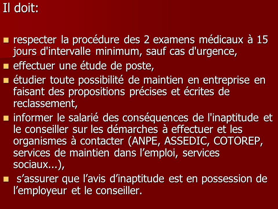 Il doit: respecter la procédure des 2 examens médicaux à 15 jours d'intervalle minimum, sauf cas d'urgence, respecter la procédure des 2 examens médic