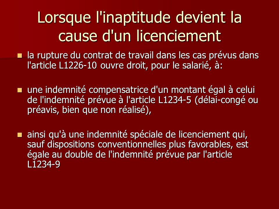 Lorsque l'inaptitude devient la cause d'un licenciement la rupture du contrat de travail dans les cas prévus dans l'article L1226-10 ouvre droit, pour