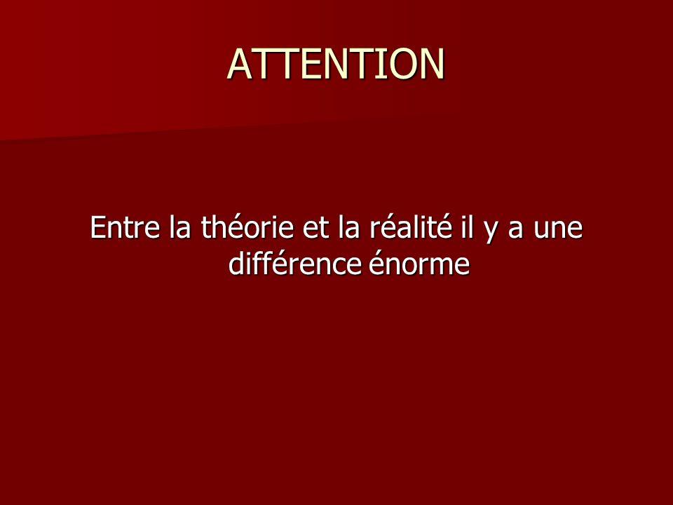 ATTENTION Entre la théorie et la réalité il y a une différence énorme
