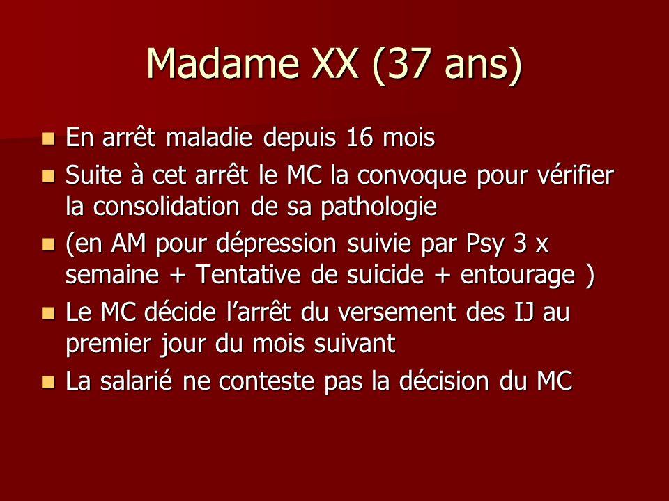 Madame XX (37 ans) En arrêt maladie depuis 16 mois En arrêt maladie depuis 16 mois Suite à cet arrêt le MC la convoque pour vérifier la consolidation