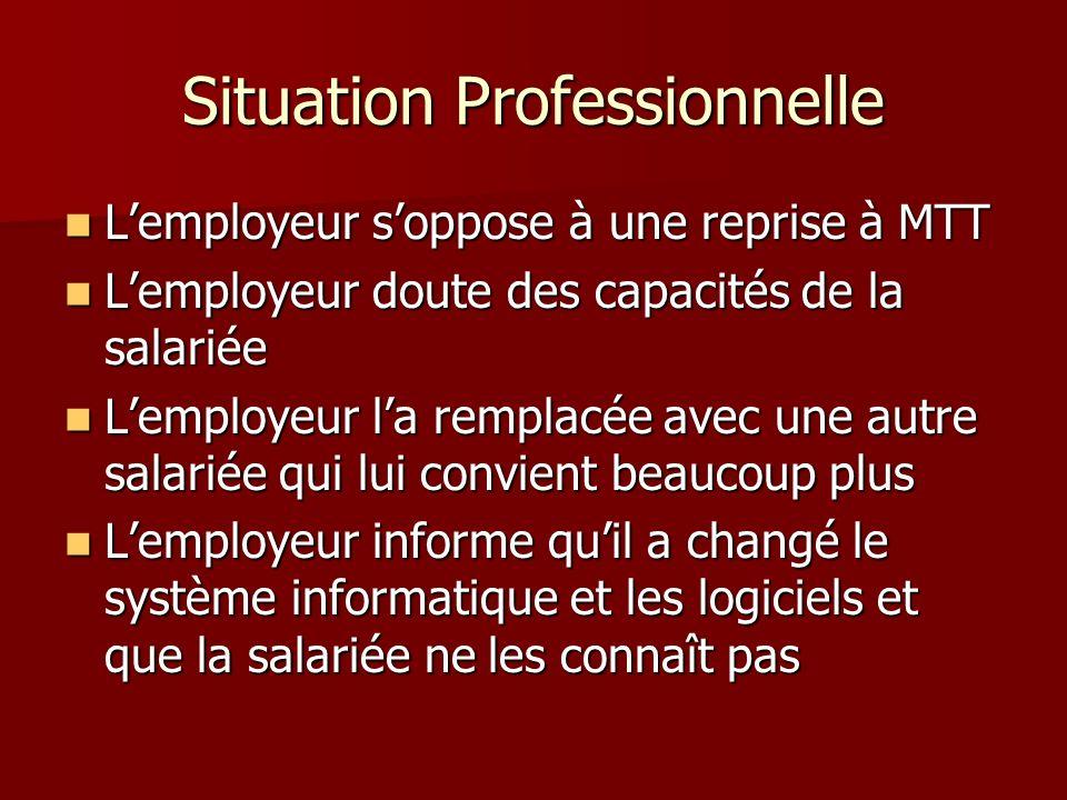 Situation Professionnelle Lemployeur soppose à une reprise à MTT Lemployeur soppose à une reprise à MTT Lemployeur doute des capacités de la salariée