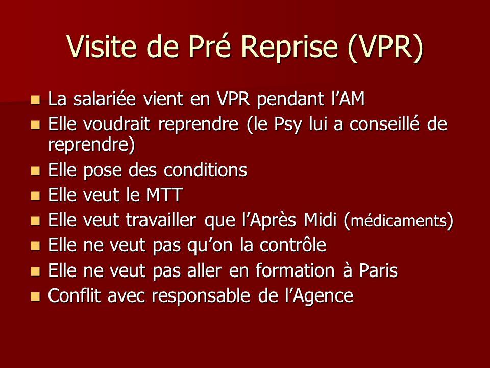 Visite de Pré Reprise (VPR) La salariée vient en VPR pendant lAM La salariée vient en VPR pendant lAM Elle voudrait reprendre (le Psy lui a conseillé