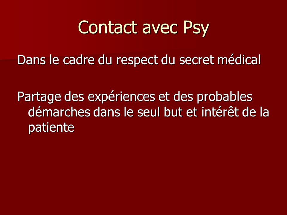Contact avec Psy Dans le cadre du respect du secret médical Partage des expériences et des probables démarches dans le seul but et intérêt de la patie