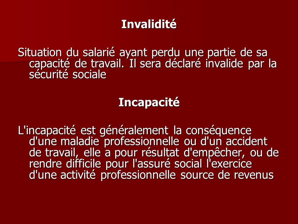 Invalidité Situation du salarié ayant perdu une partie de sa capacité de travail. Il sera déclaré invalide par la sécurité sociale Incapacité L'incapa