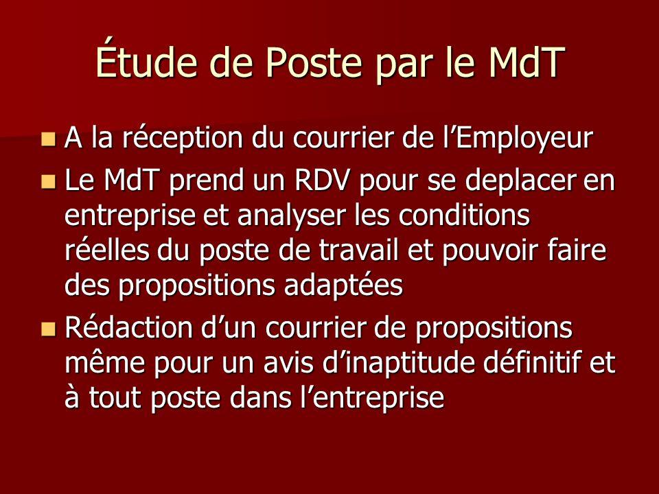 Étude de Poste par le MdT A la réception du courrier de lEmployeur A la réception du courrier de lEmployeur Le MdT prend un RDV pour se deplacer en en