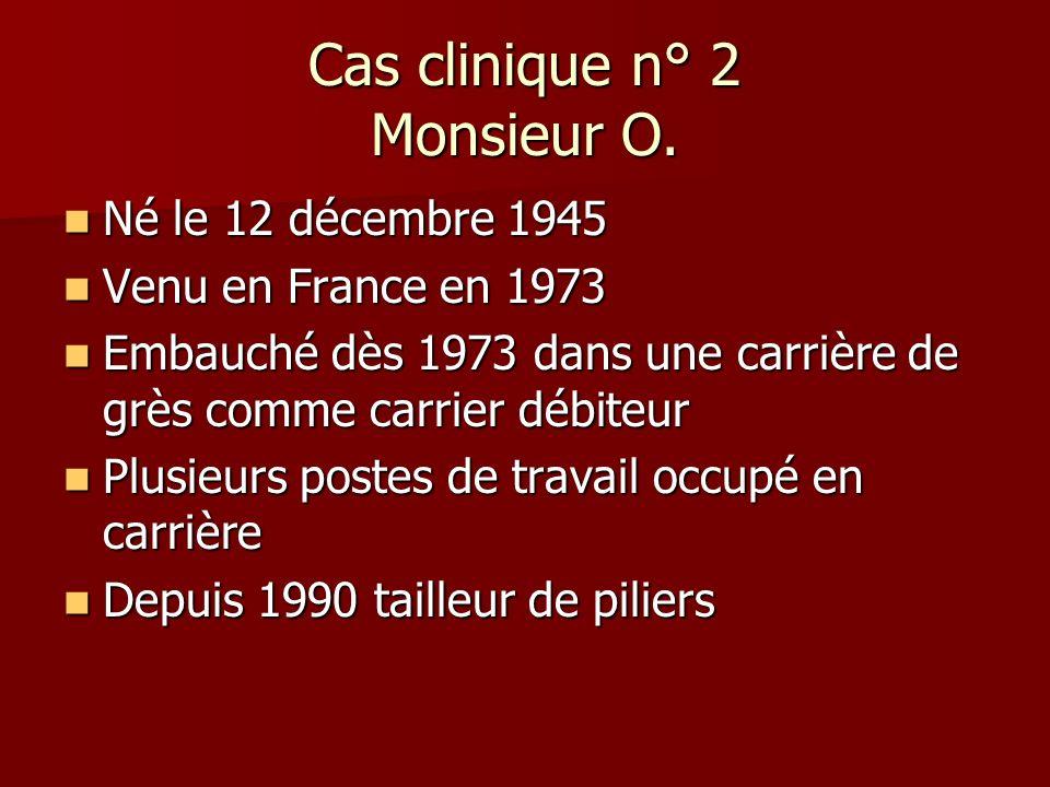 Cas clinique n° 2 Monsieur O. Né le 12 décembre 1945 Né le 12 décembre 1945 Venu en France en 1973 Venu en France en 1973 Embauché dès 1973 dans une c