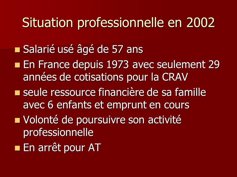 Situation professionnelle en 2002 Salarié usé âgé de 57 ans Salarié usé âgé de 57 ans En France depuis 1973 avec seulement 29 années de cotisations po