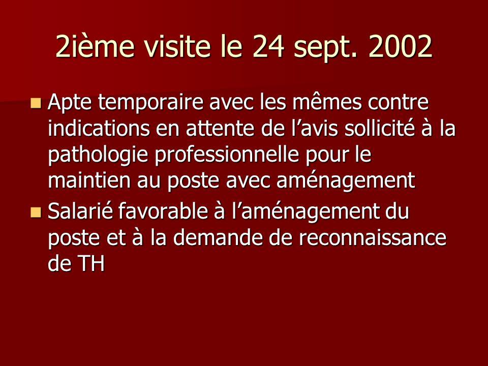 2ième visite le 24 sept. 2002 Apte temporaire avec les mêmes contre indications en attente de lavis sollicité à la pathologie professionnelle pour le