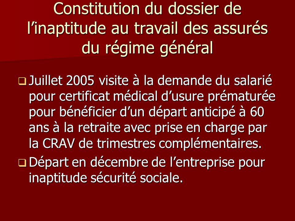 Constitution du dossier de linaptitude au travail des assurés du régime général Juillet 2005 visite à la demande du salarié pour certificat médical du