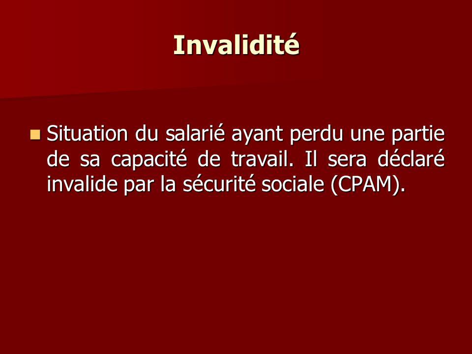 Invalidité Situation du salarié ayant perdu une partie de sa capacité de travail. Il sera déclaré invalide par la sécurité sociale (CPAM). Situation d