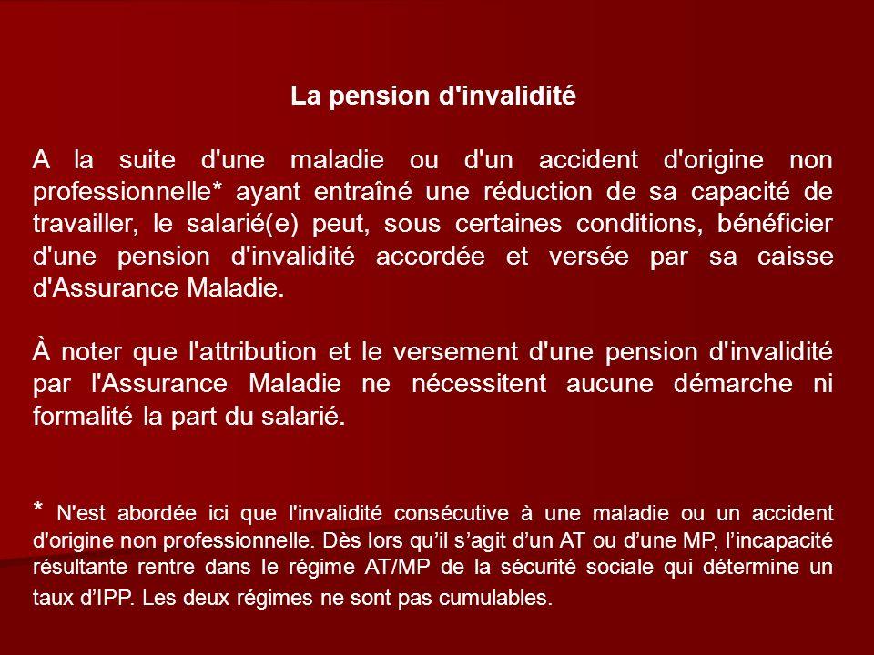 Conditions d attribution d une pension d invalidité Conditions d attribution d une pension d invalidité Les conditions d attribution d une pension d invalidité sont les suivantes : Le ou la salariée doit être âgé(e) de moins de 60 ans.