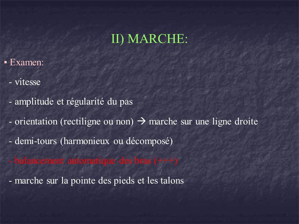 II) MARCHE: Examen: - vitesse - amplitude et régularité du pas - orientation (rectiligne ou non) marche sur une ligne droite - demi-tours (harmonieux