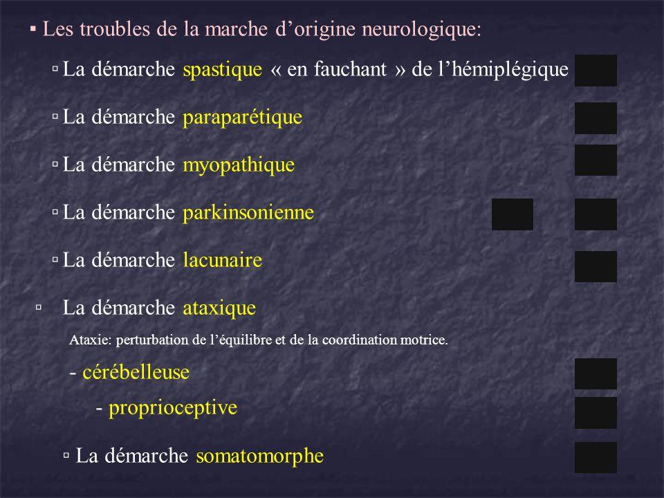 Les troubles de la marche dorigine neurologique: La démarche spastique « en fauchant » de lhémiplégique La démarche paraparétique La démarche myopathi