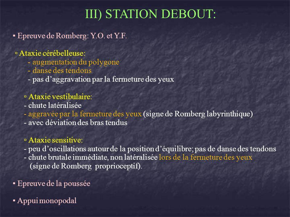 III) STATION DEBOUT: Epreuve de Romberg: Y.O. et Y.F. Ataxie cérébelleuse: - augmentation du polygone - danse des tendons - pas daggravation par la fe