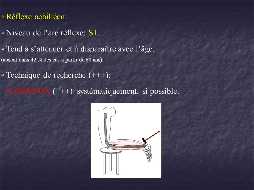 Réflexe achilléen: Niveau de larc réflexe: S1. Tend à satténuer et à disparaître avec lâge. (absent dans 42 % des cas à partir de 60 ans). Technique d