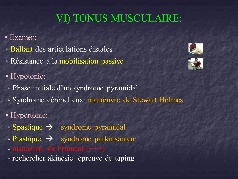VI) TONUS MUSCULAIRE: Examen: Ballant des articulations distales Résistance à la mobilisation passive Hypotonie: Phase initiale dun syndrome pyramidal