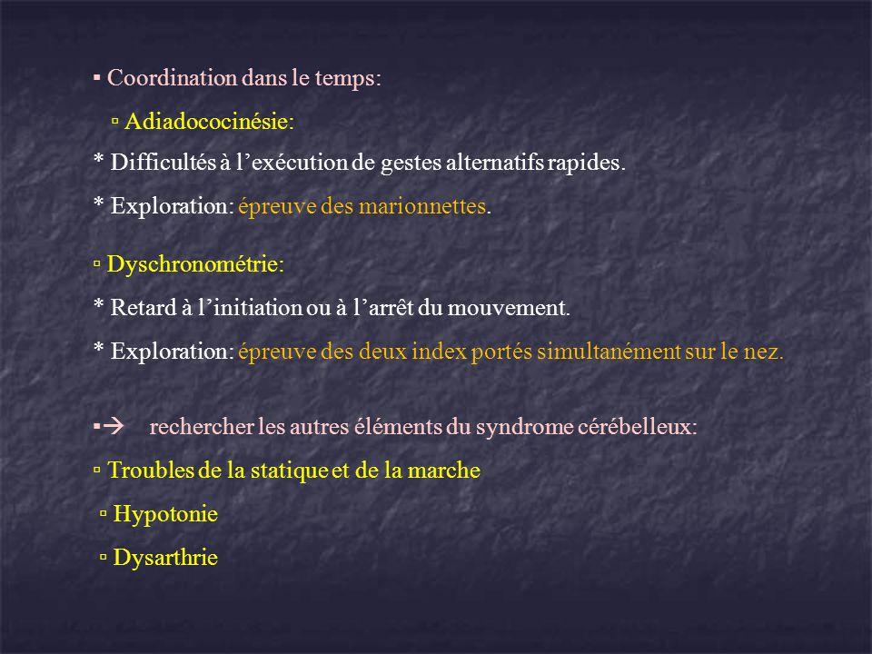Coordination dans le temps: Adiadococinésie: * Difficultés à lexécution de gestes alternatifs rapides. * Exploration: épreuve des marionnettes. Dyschr