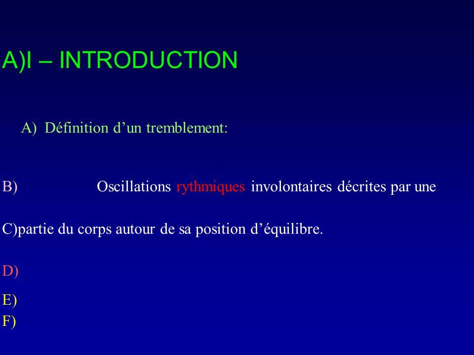 A)I – INTRODUCTION A) Définition dun tremblement: B) Oscillations rythmiques involontaires décrites par une C)partie du corps autour de sa position dé