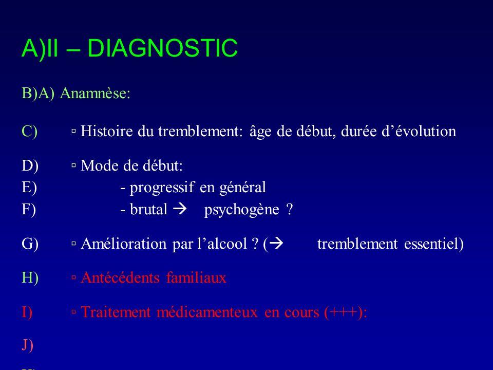 A)II – DIAGNOSTIC B)A) Anamnèse: C) Histoire du tremblement: âge de début, durée dévolution D) Mode de début: E)- progressif en général F)- brutal psy