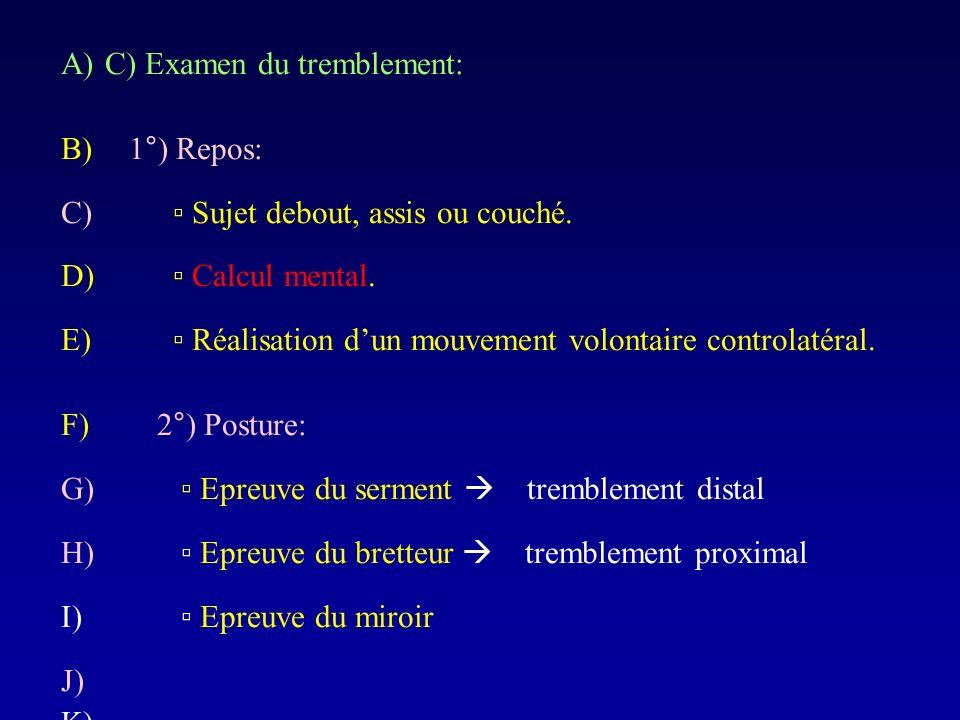 A)C) Examen du tremblement: B) 1°) Repos: C) Sujet debout, assis ou couché. D) Calcul mental. E) Réalisation dun mouvement volontaire controlatéral. F