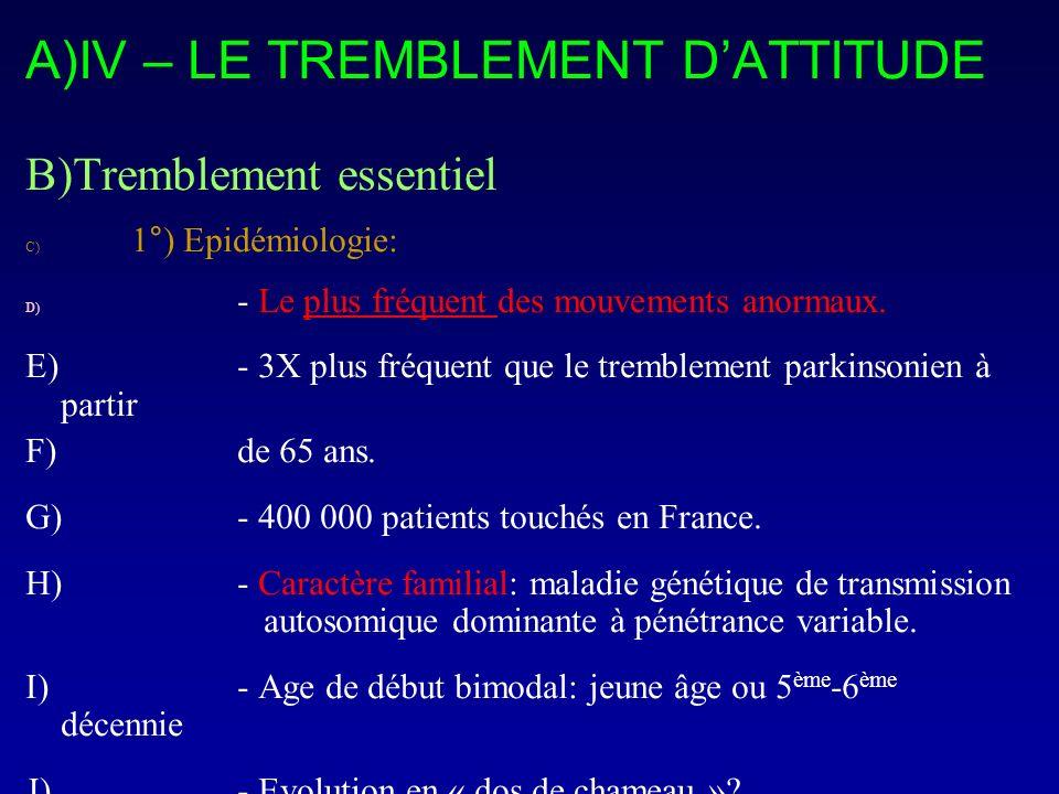 A)IV – LE TREMBLEMENT DATTITUDE B)Tremblement essentiel C) 1°) Epidémiologie: D) - Le plus fréquent des mouvements anormaux. E)- 3X plus fréquent que