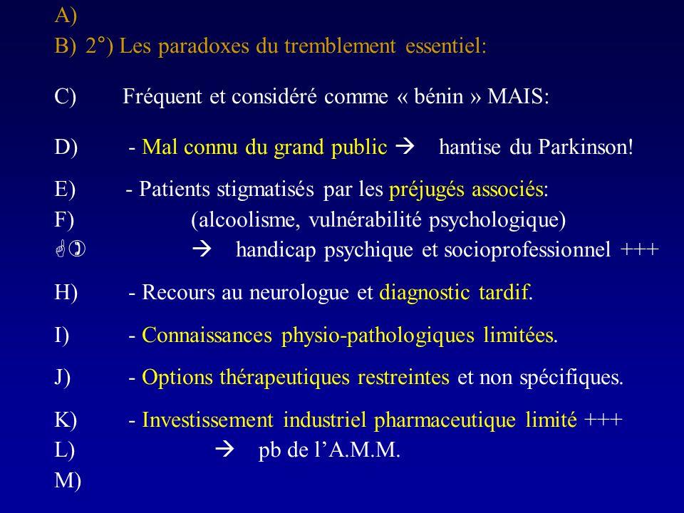 A) B)2°) Les paradoxes du tremblement essentiel: C)Fréquent et considéré comme « bénin » MAIS: D) - Mal connu du grand public hantise du Parkinson! E)