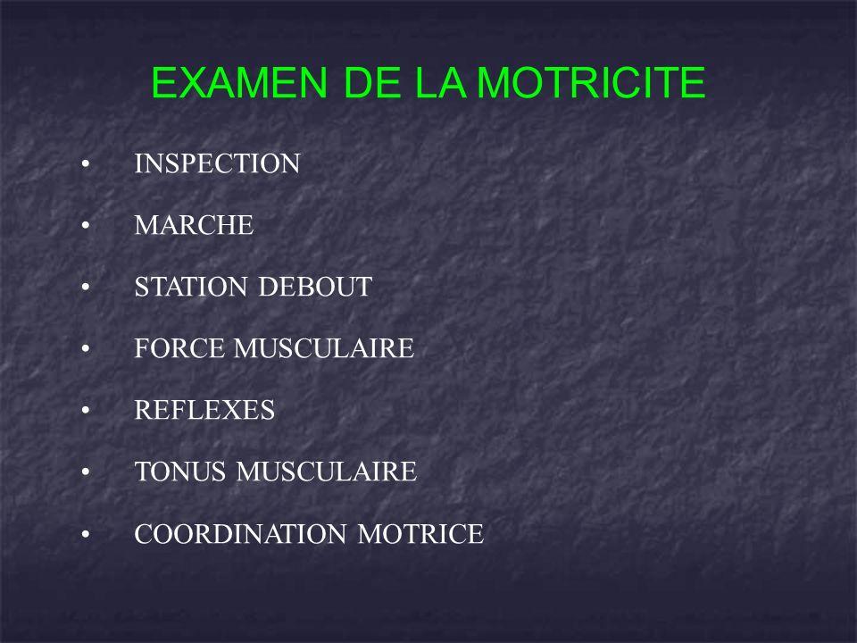EXAMEN DE LA MOTRICITE INSPECTION MARCHE STATION DEBOUT FORCE MUSCULAIRE REFLEXES TONUS MUSCULAIRE COORDINATION MOTRICE
