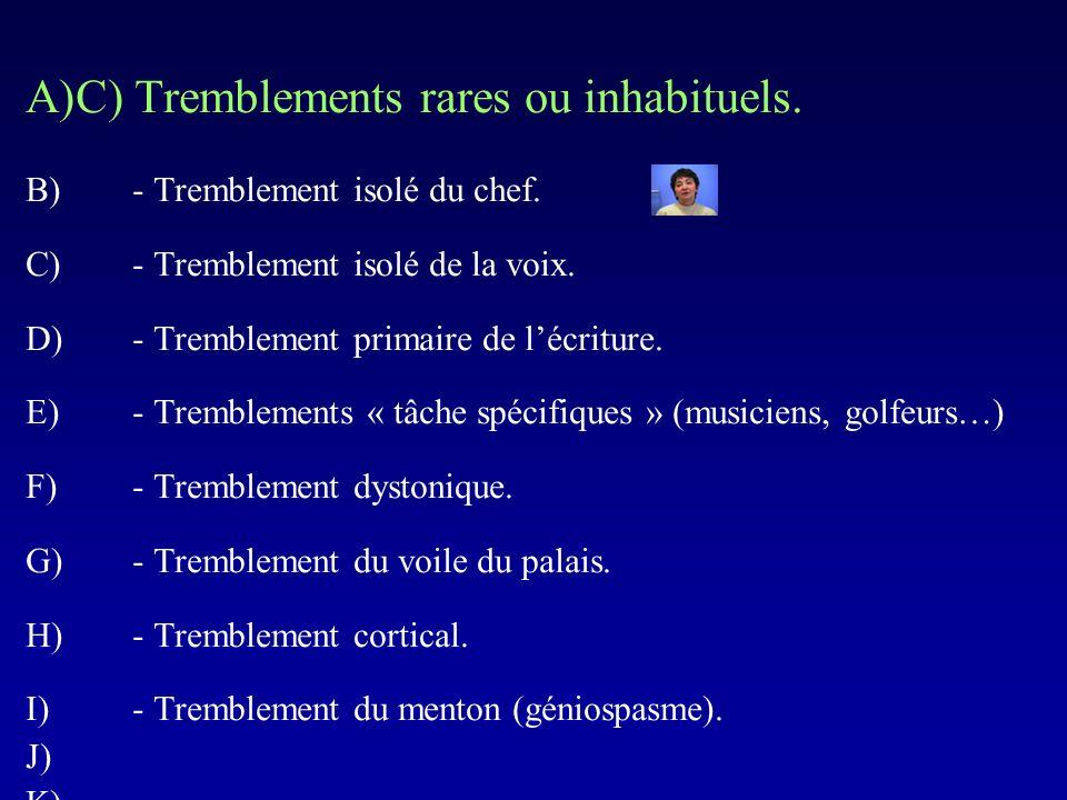A)C) Tremblements rares ou inhabituels. B)- Tremblement isolé du chef. C)- Tremblement isolé de la voix. D)- Tremblement primaire de lécriture. E)- Tr