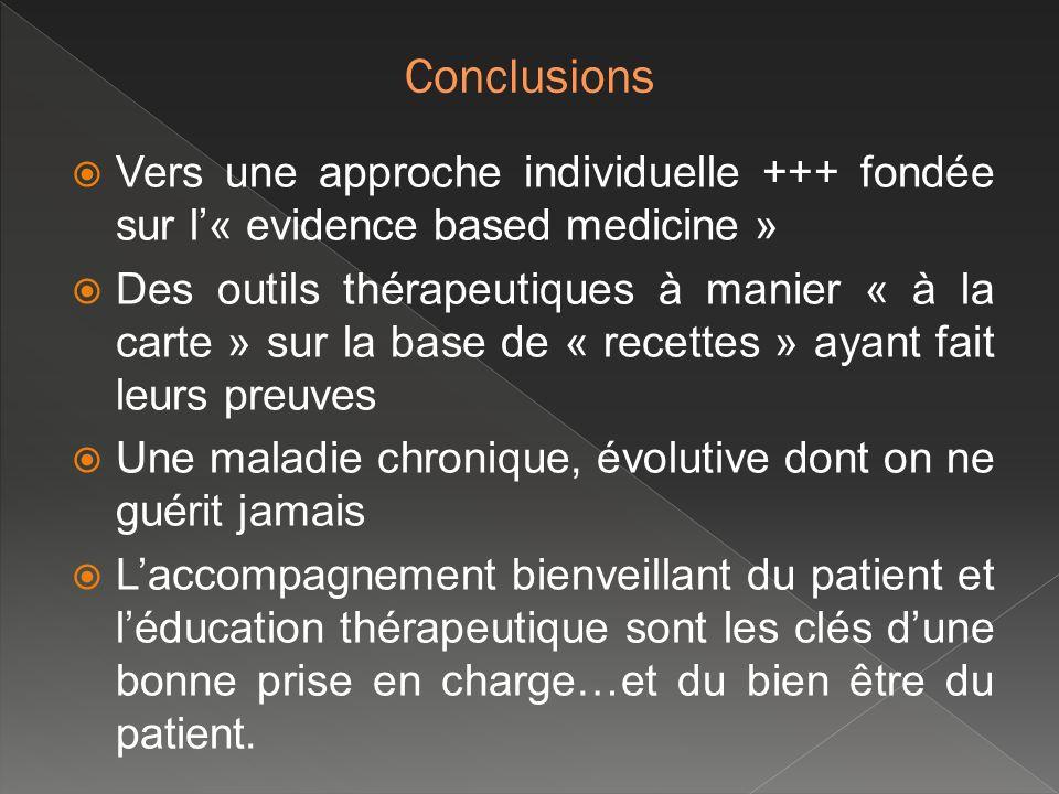 Vers une approche individuelle +++ fondée sur l« evidence based medicine » Des outils thérapeutiques à manier « à la carte » sur la base de « recettes
