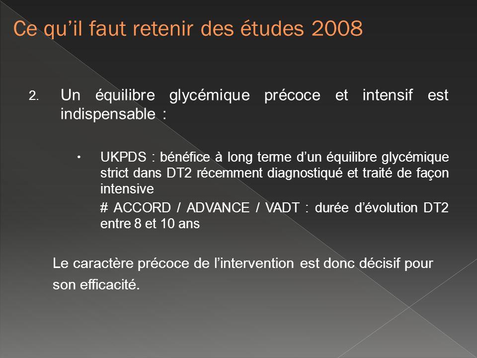 2. Un équilibre glycémique précoce et intensif est indispensable : UKPDS : bénéfice à long terme dun équilibre glycémique strict dans DT2 récemment di