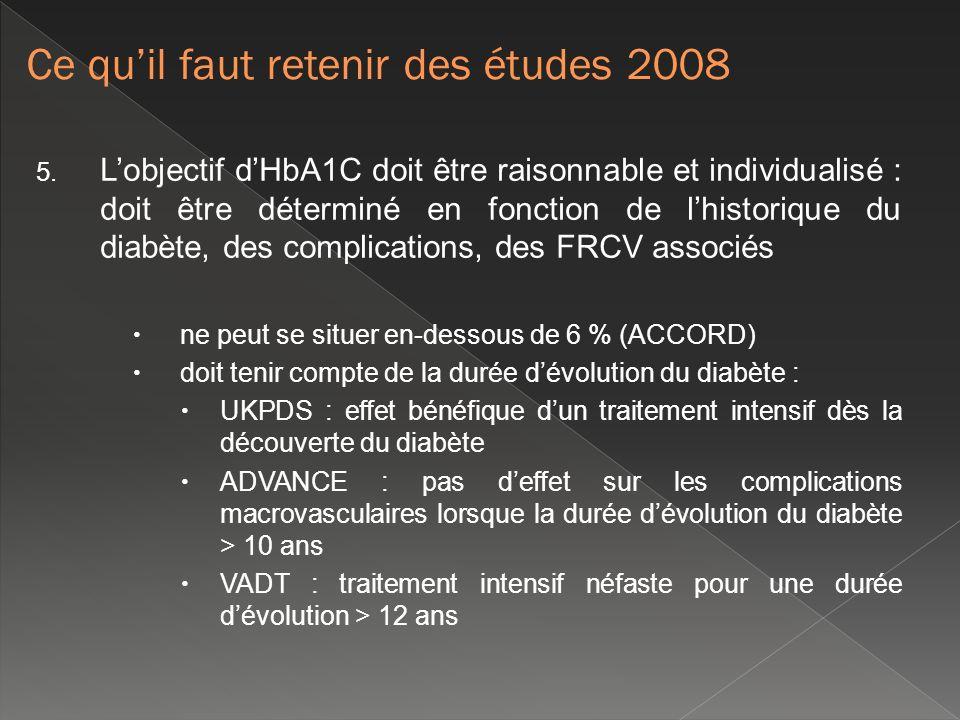 5. Lobjectif dHbA1C doit être raisonnable et individualisé : doit être déterminé en fonction de lhistorique du diabète, des complications, des FRCV as