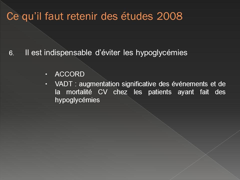 6. Il est indispensable déviter les hypoglycémies ACCORD VADT : augmentation significative des événements et de la mortalité CV chez les patients ayan
