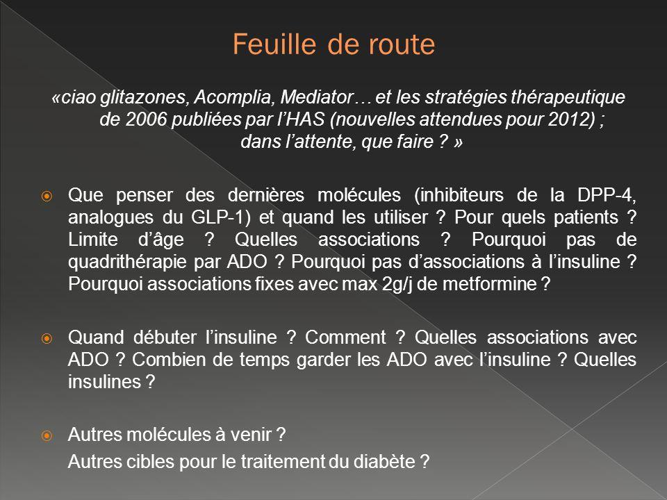 «ciao glitazones, Acomplia, Mediator… et les stratégies thérapeutique de 2006 publiées par lHAS (nouvelles attendues pour 2012) ; dans lattente, que f