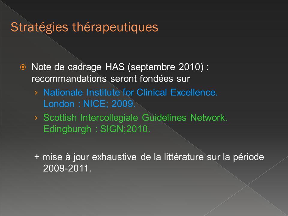 Note de cadrage HAS (septembre 2010) : recommandations seront fondées sur Nationale Institute for Clinical Excellence. London : NICE; 2009. Scottish I