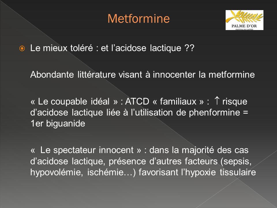 Le mieux toléré : et lacidose lactique ?? Abondante littérature visant à innocenter la metformine « Le coupable idéal » : ATCD « familiaux » : risque
