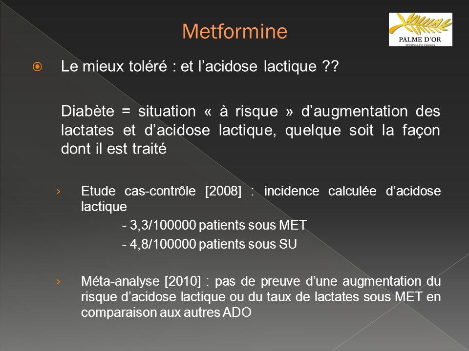 Le mieux toléré : et lacidose lactique ?? Diabète = situation « à risque » daugmentation des lactates et dacidose lactique, quelque soit la façon dont