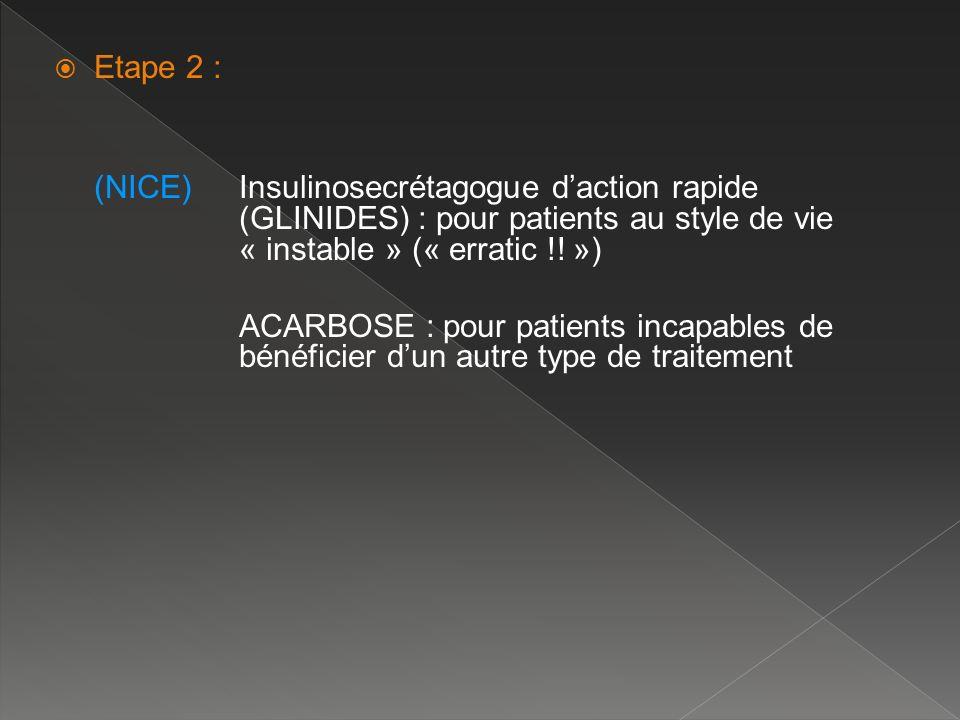 Etape 2 : (NICE)Insulinosecrétagogue daction rapide (GLINIDES) : pour patients au style de vie « instable » (« erratic !! ») ACARBOSE : pour patients