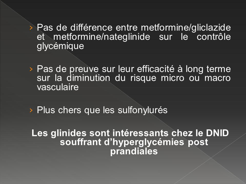 Pas de différence entre metformine/gliclazide et metformine/nateglinide sur le contrôle glycémique Pas de preuve sur leur efficacité à long terme sur