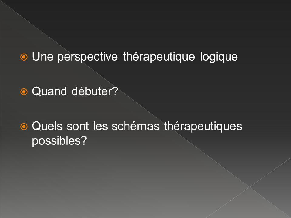 Une perspective thérapeutique logique Quand débuter? Quels sont les schémas thérapeutiques possibles?